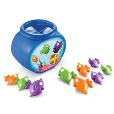<br>The fish are hiding…where can they be? Reach inside, but don't try to see! Unique bowl features vinyl flaps over the opening so you can't peek! Reel in 9 fish in 3 different colors and sizes—great for tactile awareness. Then snap the fish together like pop beads for fine-motor practice and play.  <ul><li>Includes 10 pieces: 9 fish and 1 bowl</li> <li>Safe for toddler play (2+)</li> </ul>