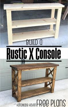 Easy Woodworking Projects - Rustic X Console - Cool DIY Wood Projects for Beginn. Easy Woodworking Projects – Rustic X Console – Cool DIY Wood Projects for Beginners – Easy Pr Wood Projects For Beginners, Wood Working For Beginners, Diy Furniture For Beginners, Farm Projects, Diy Wood Projects, Wood Crafts, Diy Crafts, Diy Home Projects Easy, Key Projects