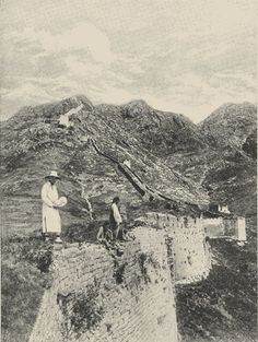 """Photo of a section of the Great Wall of China from H. G. Wells's """"A Short History of the World"""" (1922). Photo by Underwood and Underwood."""