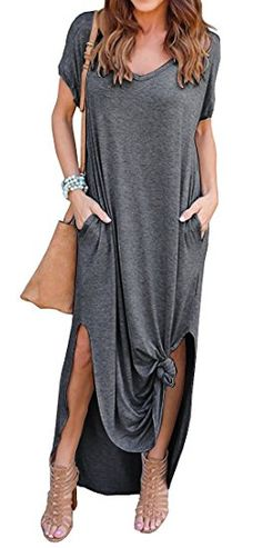 3ef60e35bd0b $24 GRECERELLE Women's Casual Loose Pocket Long Dress Short Sleeve Split  Maxi Dresses at Amazon Women's