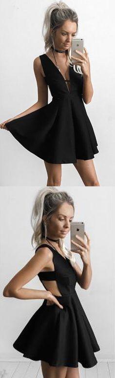 Sexy Black Prom Dress,Deep V-neck 2017 Homecoming Dress,Short /Mini Sleeveless Evening Dress,Sweet 16 Cocktail Dress,Homecoming Dress,HG78