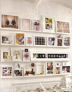 Memory shadow boxes arranged as a gallery wall. Photos can only show so much. Picture Wall, Picture Frames, Wall Decor, Wall Art, Home And Deco, Photo Displays, Shadow Box, Decoration, Gallery Wall
