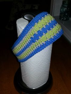 Headband - pattern by CrocheTrend. Made with Cotton-Ease, so colors don't match Seahawks completely.