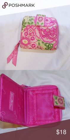 Vera Bradley Green Pink Floral Paisley Wallet Retired petal pink pattern. Snap close wallet. Some wear but good used condition. Pet Friendly + Smoke Free Home. Vera Bradley Bags Wallets