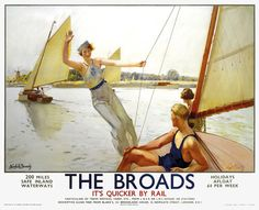 The Broads - Girl Waving from Boat Art Print by National Railway Museum at King & McGaw Posters Uk, Train Posters, Railway Posters, Poster Prints, Framed Prints, Canvas Prints, Norfolk Broads, National Railway Museum, British Travel