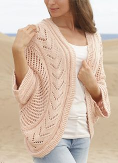 Free Knitting Pattern for Summer Snug - Lace cocoon cardigan is made two pieces knit in the round and shaped with short rows. Designed by DROPS Design. Sizes S/M – L/XL – XXL /XXXL. Available in multiple languages.