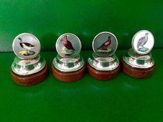 SET 4 ANTIQUE EDWARDIAN SILVER GAME BIRD MENU HOLDERS 1908