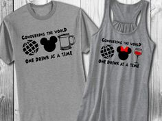 Perfect shirts for your journey around the world in one day at the happiest place on Earth, EPCOT.  Available shirt styles and colors are shown in listing. NOTE: we recommend that ladies size UP as they typically run small. Please reference the size charts posted and/or message us with any questions BEFORE placing an order.  Shirts can be customized. Message us with your custom request!  Current turnaround time is 3-4 weeks. Rush order option available for +$20 per order.