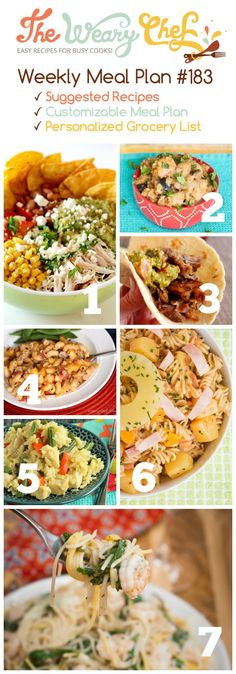 This easy dinner menu features Thai Curry Skillet, Taco Salad, Hawaiian Pasta Salad, and lots more! via @wearychef