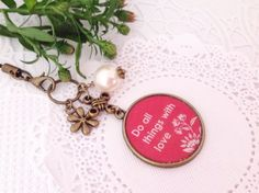 Do All Thing With Love Pendant Planner Charm Zipper by PrettySang