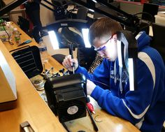 Daniel Alspach, a senior at Oakland Schools Technical Campus Northeast, pushed his chair away from his Computer Aided Design (CAD) of a car body, and gestured to the school's new Afinia H800 …