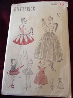 Vintage 50's Butterick Sewing Pattern 4696 Girls Ballet Dance Costume Sz 10-12