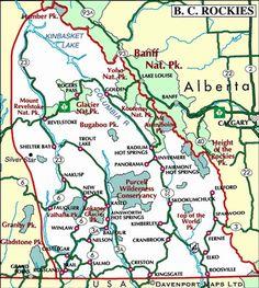 Map of the Kootenay Rockies, British Columbia: Castlegar, Nelson, Cranbrook, Kimberley BC