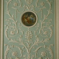 (Robin's egg blue) Painted roundel showing a wedding feast by Antonio Zucchi, Kauffman's husband, set in a stucco panel in the Eating Room at Osterley. Paneling, Blue Paint, Regency Furniture, Neoclassical Furniture, Robins Egg Blue Paint, Mural, Tapestry, Wall Painting, Park Homes