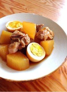 鶏肉と大根とゆで卵のこってり旨煮