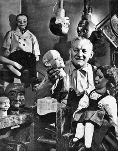 Frank Marshall (1900-1969) credited for carving Charlie McCarthy, Jerry Mahoney, Danny O'Day, Farfel. He also made marionettes, hand puppets and Punch and Judy characters and thousands more