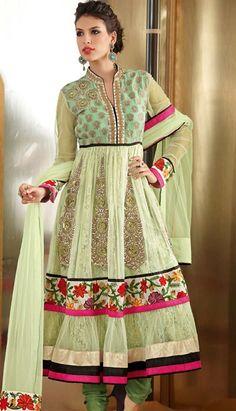 Pista Green Net and Net Jacquard Anarkali Churidar Kameez Online Shopping: Pakistani Salwar Kameez, Pakistani Dresses, Anarkali Churidar, Shalwar Kameez, Ethnic Outfits, Indian Outfits, Indian Clothes, Latest Anarkali Suits, Salwar Suits