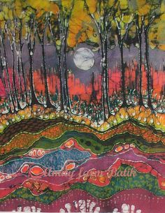 "Moonlight over Spring - 5"" x 7""  fabric from original batik -  Custom printed art fabric (4.50 USD) by amityfarmbatik"