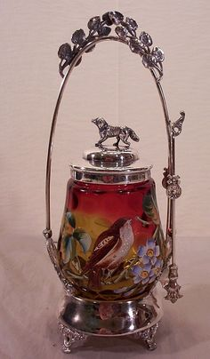 Vintage Rare Amberina Pickle Castor with Bird and Dog