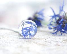 Cornflower Necklace - deep vivid blue petals flowers - amazing gift - Real Centaurea cyanus