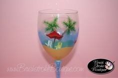 Hand Painted Wine Glass - Beachy Keen - Personalized and Custom Wine Glasses for Birthday, Wedding, Party, Special Occasions