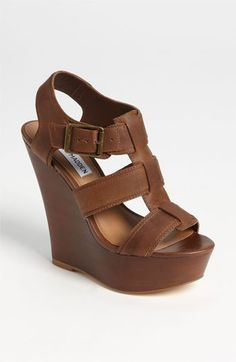 For when i can finally wear wedges again - Steve Madden 'Wanting' Wedge Sandal Crazy Shoes, Me Too Shoes, Look Fashion, Fashion Shoes, Brown Fashion, Latest Fashion, Fashion Ideas, Girl Fashion, Fashion Trends