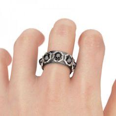 Classic milgrain Rhodium Plating Sterling Silver Skull Ring