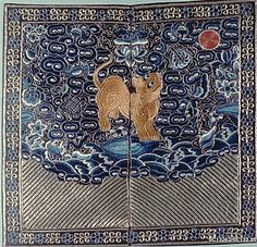 Rank Badge with Tiger Cat, early 19th century. Qing dynasty (1644–1911). China. The Metropolitan Museum of Art, New York. Anonymous Gift, 1946 (46.133.35) #cats