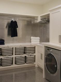 40 Inspiring Laundry Room Design Ideas that Will Make You Impressed modern farmhouse laundry room with laundry room organization, laundry room storage, neutral laundry room with open shelves Room Makeover, Laundry Storage, Room Organization, Diy Laundry Room Storage, Closet Storage, Room Diy, Room Storage Diy, Storage Room
