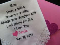 Personalized Wedding Handkerchief for  your Mother.......Lacy..........Free Gift Box, $25.00