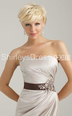 Elegant Dress With Rhinestones and Appliques