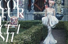 Craig McDean shoots the amazing Saskia de Brauw in the story 'Couture Clash' for October Issue of W Magazine, styled by Edward Enninful. Hair by James Pecis and make-up by Peter Philips. Set design by Jean-Hugues Chatillon. Runway Fashion, Fashion Beauty, Craig Mcdean, Photoshoot Concept, W Magazine, Mermaid Gown, Couture Week, Editorial Photography, Fashion Photo