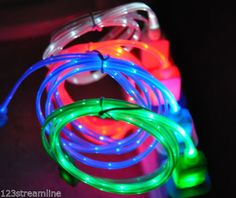 LED Light Up USB Data Sync Charging Cable Charger iPhone 4 4S 5 5S 5c Galaxy S3   eBay