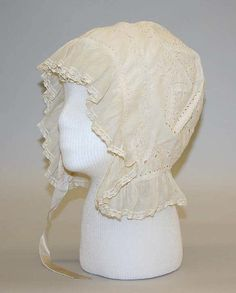 Morning cap, ca. 1812, American, cotton, silk. The Metropolitan Museum of Art.