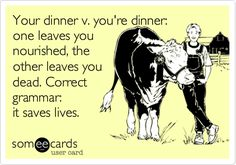 Your dinner versus you're dinner. Something to share with students about the importance of grammar.