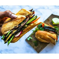 Roasted Eggplant Banh Mi Sandwich. Get this and 50+ more Vegan recipes at https://feedfeed.info/our-favorite-vegan-recipes