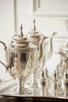 Lovely silver tea set perfect for wedding decor details Royal Copenhagen, Vintage Silver, Antique Silver, Objets Antiques, Southern Charm, Southern Girls, Southern Hospitality, Southern Comfort, Southern Belle