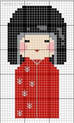 Cross-stitch a Kokeshi doll (tips) Cross Stitch Designs, Cross Stitch Patterns, Cross Stitching, Cross Stitch Embroidery, Free Cross Stitch Charts, Art Perle, Pixel Pattern, Perler Patterns, Kokeshi Dolls