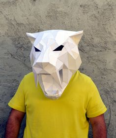Make Your Own Sabertooth Tiger Mask.   Papercraft Sabertooth   Papercraft Tiger   Papercraft Animal   Puma   Tiger   Leopard   Wild cat by PlainPapyrus on Etsy