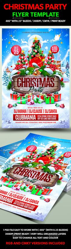 Christmas Party Flyer Template PSD #design #xmas Download: http://graphicriver.net/item/christmas-party-flyer-template/13495583?ref=ksioks