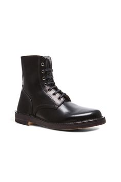 Alexander McQueen Darwin Lace Up Leather Derby Boots in Black | FWRD