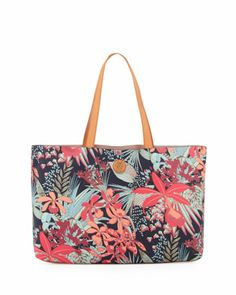 Kerrington Floral East/West Tote Bag, Navy Calathea by Tory Burch at Neiman Marcus.