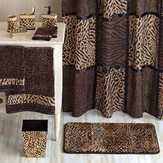 Better Homes and Gardens Animal Print Bathroom Collection Bundle Leopard Bathroom, Safari Bathroom, Animal Print Bathroom, Animal Print Rooms, Animal Print Decor, Animal Prints, Safari Home Decor, Curtains Pictures, Shower Curtain Art
