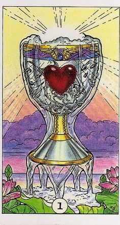 Ace of Cups~todays card..yay! The beginning of love and creativity. Possible marriage. Spiritual healing possible. New relationship on the horizon. Powerful creative energy able to be harnessed for new ventures. The creative arts. Emotional fulfillment in in all things. Divinity influenced art and music. Happiness and vitality for living. Support from community of new artistic ventures. Partnerships will soon be important.