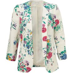 Monsoon Glasshouse Print Jacket ($122) ❤ liked on Polyvore featuring outerwear, jackets, blazer, sweaters, tops, ivory, patterned blazer, ivory blazer, tailored blazer and white winter jacket