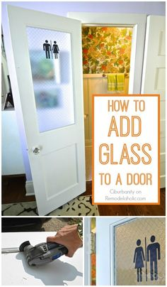 Adding a glass pane to an old wood door -- love the old school pebbled glass she chose for privacy (Diy Wood Work Laundry Rooms) Glass Pane Door, Laundry Room Diy, Laundry Doors, Glass Pantry Door, Room Doors, Door Decals, Diy Door, Old Wood Doors, Laundry Room Doors