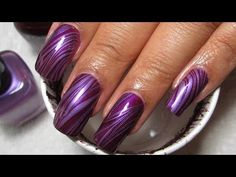 Purple Stripes Water Marble Nail Art Tutorial (Manicure May #3)