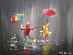 PETE-RUMNEY-FINE-ART-BUY-ORIGINAL-PAINTING-DANCING-KIDS-PLAYING-FUN-RAIN-COLOUR