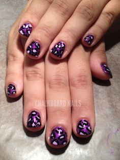 Purple Leopard via chalkboard nails Fabulous Nails, Gorgeous Nails, Love Nails, Pretty Nails, Dot Nail Art, Nail Art Blog, Polka Dot Nails, Chalkboard Nails, Leopard Print Nails
