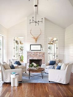 How to Paint a Brick Fireplace. Perfect color of flooring I'm looking for.